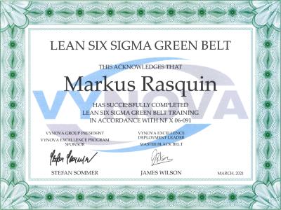 Lean Six Sigma Green Belt - Certificate
